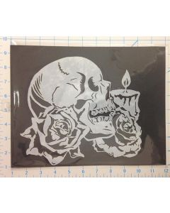 SKULL ROSE AND CANDLE
