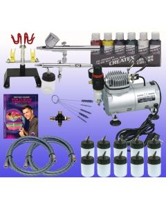 Top and Bottom Feed Airbrushes Combo with single piston compressor set